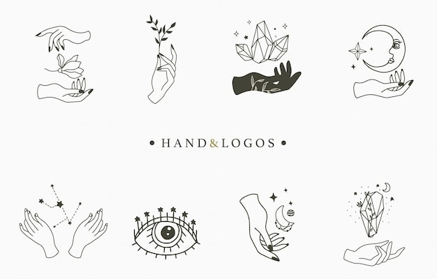 Kolekcja piękna okultystycznego logo
