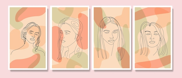 Kolekcja piękna twarz kobiety minimalna ręcznie rysowana linia sztuki boho w połowie wieku