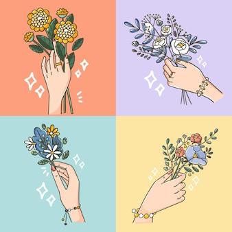 Kolekcja pięknej ręki stwarza doodle ilustracji