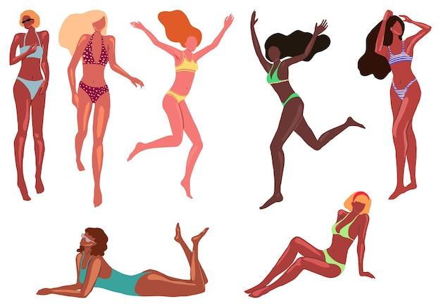 Kolekcja pięknych kobiet w stroju kąpielowym. dziewczyny w różnych pozach na plaży. zestaw ilustracji wektorowych.