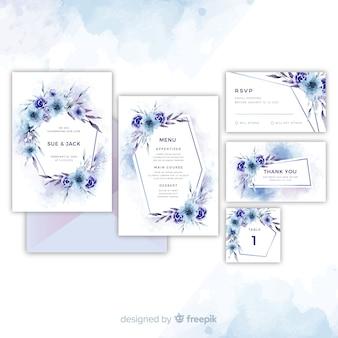 Kolekcja pięknych kwiatowych zaproszeń ślubnych