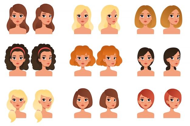 Kolekcja pięknych młodych dziewcząt o różnych fryzurach i kolorach w odcieniach długich, krótkich, średnich, kręconych, blond, czerwonych, czarnych, brunetkowych. awatary do gry mobilnej