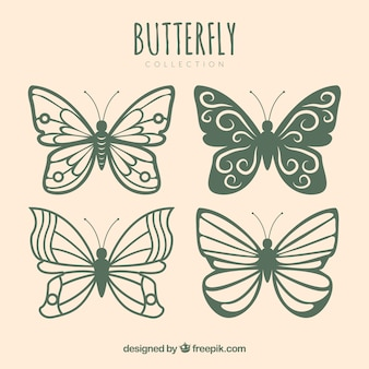 Kolekcja pięknych motyli z różnych wzorów
