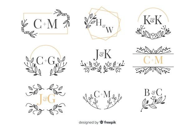 Kolekcja pięknych ozdobnych monogram ślubny