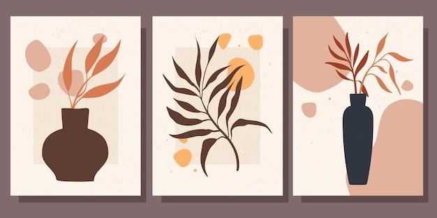 Kolekcja pięknych plakatów z ilustracją wektorową minimalizmu martwej natury