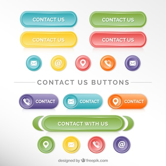 Kolekcja pięknych przycisków kontaktowych