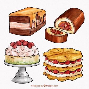 Kolekcja pięknych słodkich ciast akwarela