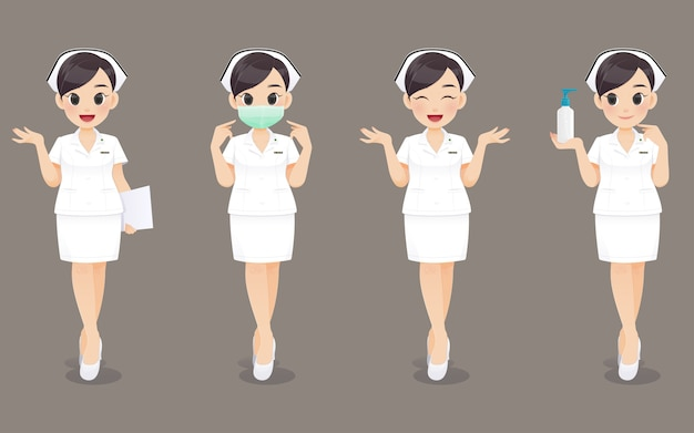 Kolekcja pielęgniarki, kobieta kreskówka lekarz lub pielęgniarka w białym mundurze. projektowanie postaci