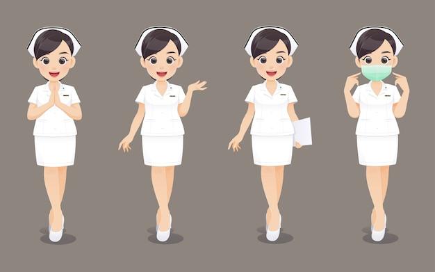 Kolekcja pielęgniarki, kobieta kreskówka lekarz lub pielęgniarka w białym mundurze