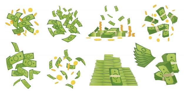 Kolekcja pieniędzy kreskówka. ilustracja kreskówka zielony banknot i złote monety. latające i zwijane rachunki, stosy monet. dolarowy deszcz