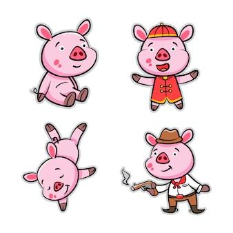 Kolekcja pig cartoon action