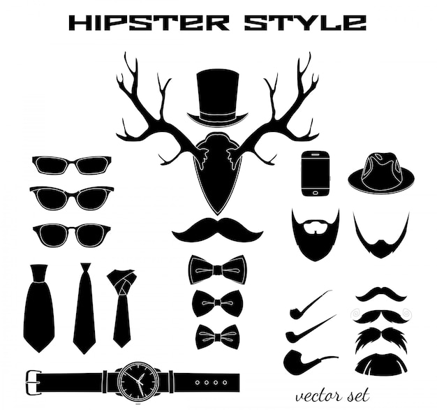 Kolekcja piktogramów akcesoriów hipster