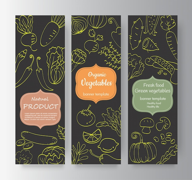 Kolekcja pionowy baner warzyw