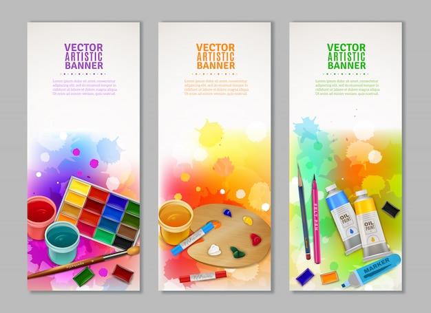 Kolekcja pionowych banerów artystycznych