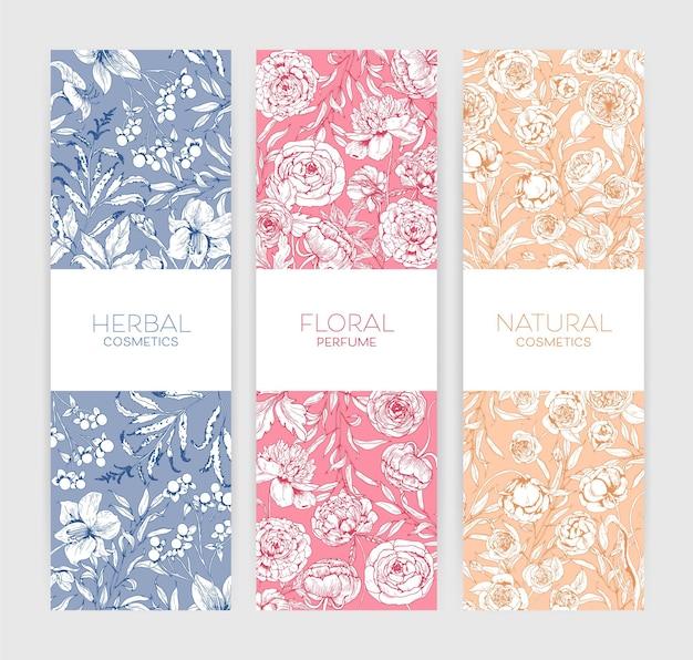 Kolekcja pionowych banerów botanicznych z romantycznymi piwoniami i kwitnącymi kwiatami w ogrodzie letnim