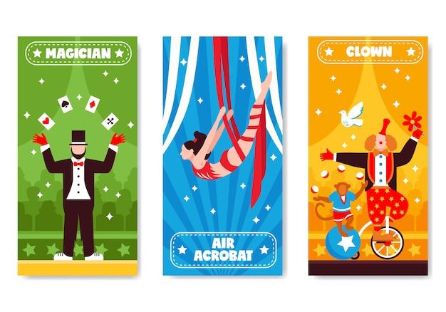 Kolekcja pionowych banerów cyrkowych