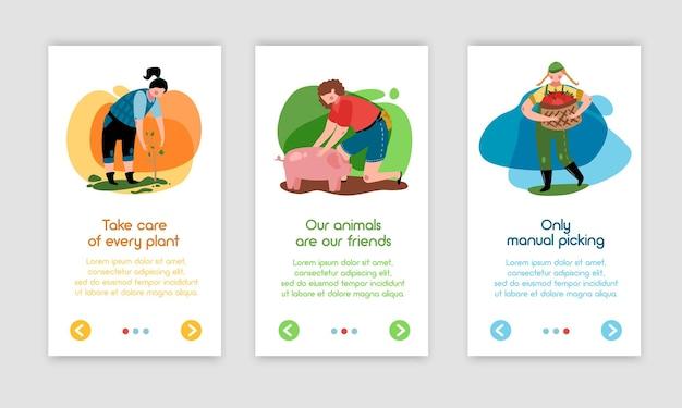 Kolekcja pionowych banerów ekologicznych