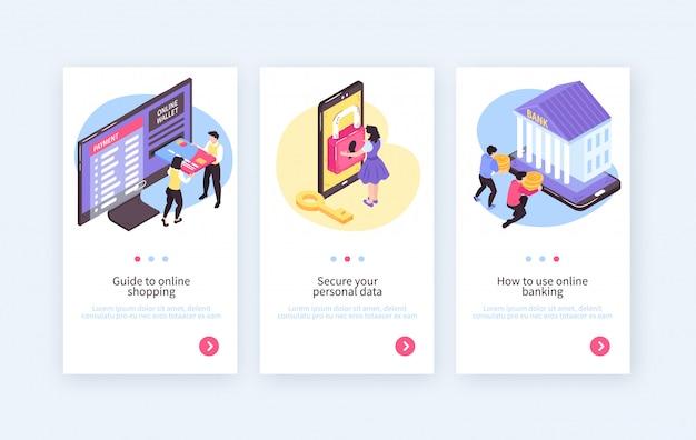 Kolekcja pionowych banerów izometrycznych bankowości mobilnej online z przyciskami tekstowymi oraz obrazami ludzi i elektroniki