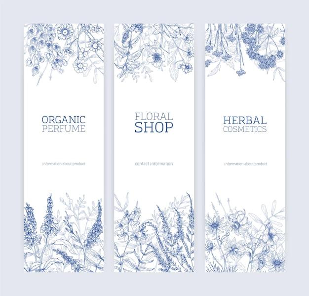 Kolekcja pionowych banerów ozdobionych dzikimi kwiatami i kwitnącymi ziołami łąkowymi ręcznie rysowane z liniami konturu na białym tle.