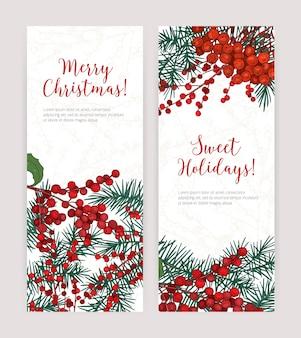 Kolekcja pionowych banerów świątecznych z gałęzi drzew iglastych
