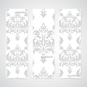 Kolekcja pionowych banerów w stylu baroku.