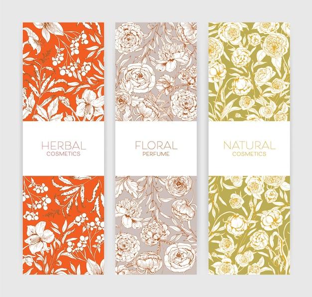 Kolekcja pionowych kwiatowych teł lub banerów z romantycznymi letnimi kwiatami kwitnącymi w ogrodzie na kosmetyki ziołowe lub naturalne oraz promocję perfum kwiatowych.