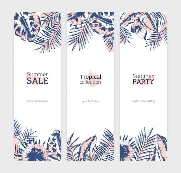 Kolekcja pionowych szablonów ulotek lub banerów z egzotycznymi liśćmi palmy lub liści roślin tropikalnych narysowanych liniami konturowymi przeciwko plamom na białym tle. ilustracja.