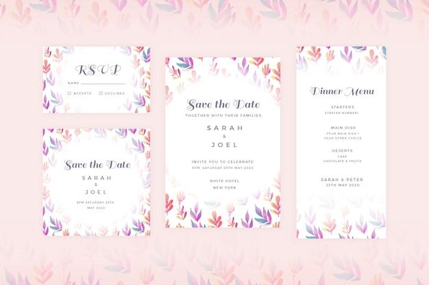 Kolekcja piśmiennych kwiatów weselnych