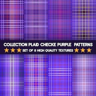 Kolekcja plaid checke fioletowy wzór tkaniny i bezproblemowa kolekcja.