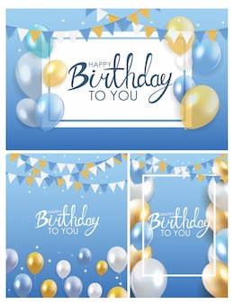 Kolekcja plakatów balony błyszczący happy birthday