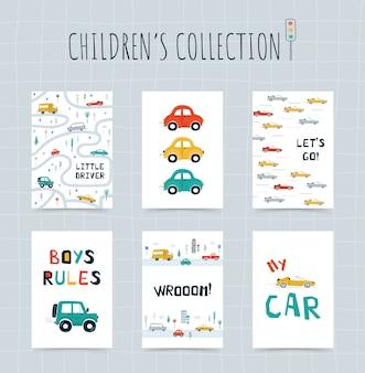 Kolekcja plakatów dla dzieci z samochodami, mapą drogową i napisami w stylu kreskówki. śliczne ilustracje do projektowania pokoju dziecięcego