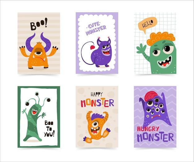 Kolekcja plakatów dla dzieci z zabawnym potworem w stylu kreskówki