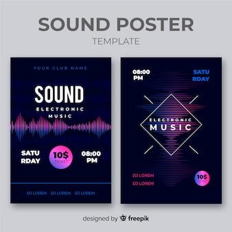 Kolekcja plakatów muzyki elektronicznej wave sound