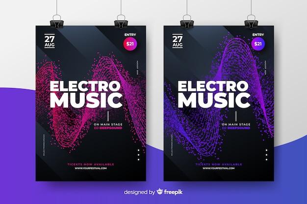 Kolekcja plakatów na festiwal muzyki elektronicznej