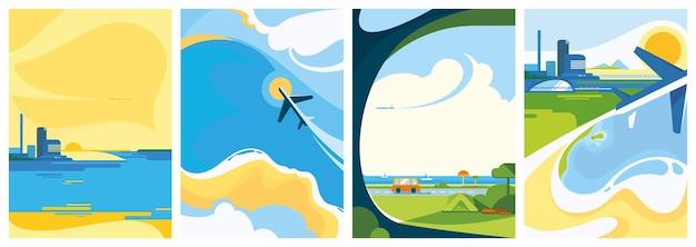 Kolekcja plakatów podróżniczych.