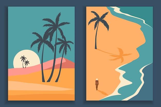 Kolekcja plakatów streszczenie kolorowy krajobraz. zestaw szablonów druku plażowego sztuki współczesnej.