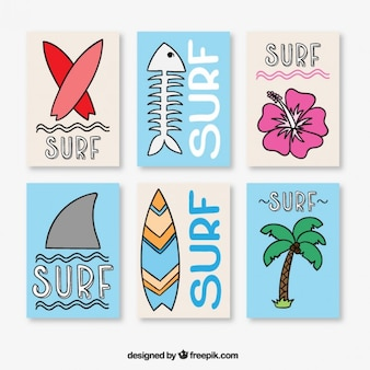 Kolekcja plakatów surfingowe