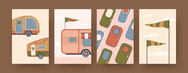 Kolekcja plakatów sztuki współczesnej z przyczepami kempingowymi. drzwi kampera, ilustracje animowane flagi. podróże, koncepcja wakacji dla projektów, media społecznościowe,