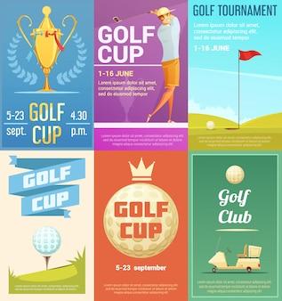 Kolekcja plakatów w stylu retro reklama klubu golfowego z trofeum zwycięzcy turnieju złoty puchar