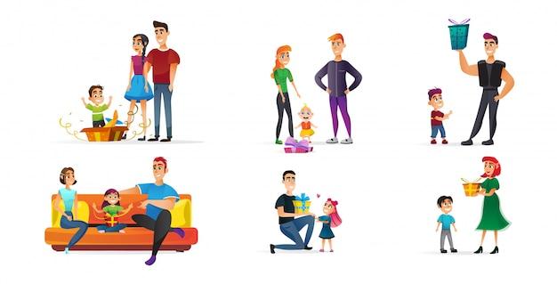 Kolekcja plakatów wakacje rodzinne z prezentami płaskimi