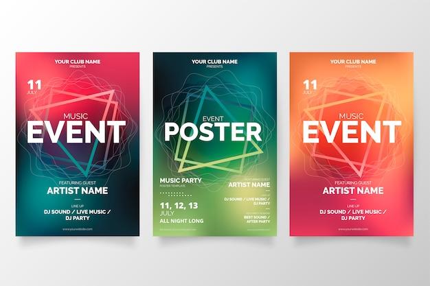 Kolekcja plakatów wydarzenie nowoczesnej muzyki