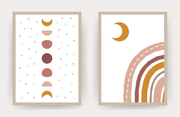Kolekcja plakatów z abstrakcyjną tęczą i księżycem