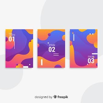 Kolekcja plakatów z płynnymi kształtami