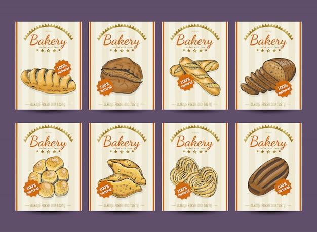 Kolekcja plakatów z różnych produktów piekarniczych