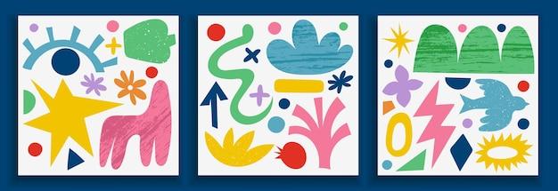 Kolekcja plakatów ze sztuką współczesną w żywych kolorach. streszczenie modne elementy geometryczne i kształty organiczne i wycinane z papieru, doodle obiektów. świetny projekt do mediów społecznościowych, pocztówek, druku.