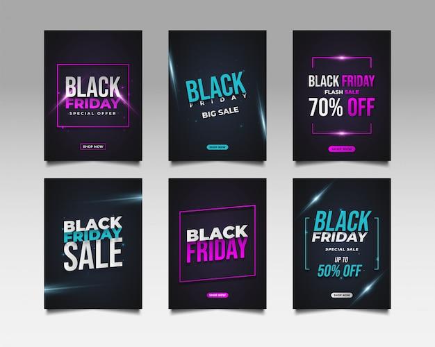 Kolekcja plakatu lub banera wyprzedaży black friday do celów promocyjnych lub reklamowych
