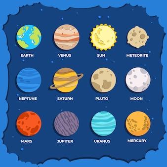 Kolekcja planety w stylu papierowym dzięki pluto, mars, sun.