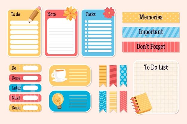Kolekcja planowania elementów notatnika