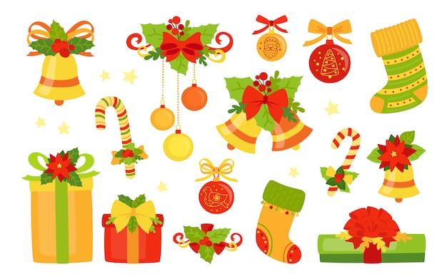 Kolekcja płaska na boże narodzenie i nowy rok. zestaw ostrokrzewu, prezent w kształcie dzwonków, świeca lizak, jemioła. świąteczny projekt kreskówki. obiekty uroczystości kolekcja noworoczna. ilustracja na białym tle