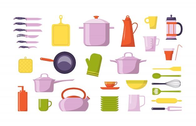 Kolekcja płaska na narzędzia kuchenne. zestaw z naczyniami do gotowania, na białym tle